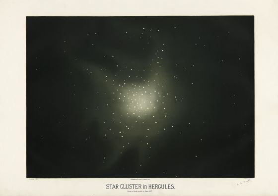 Trouvelot, Etienne Leopold: Star Cluster in Hercules. (The Trouvelot Astronomical Drawings, 1882) Space Print/Poster. Sizes: A1/A2/A3/A4 (00104)